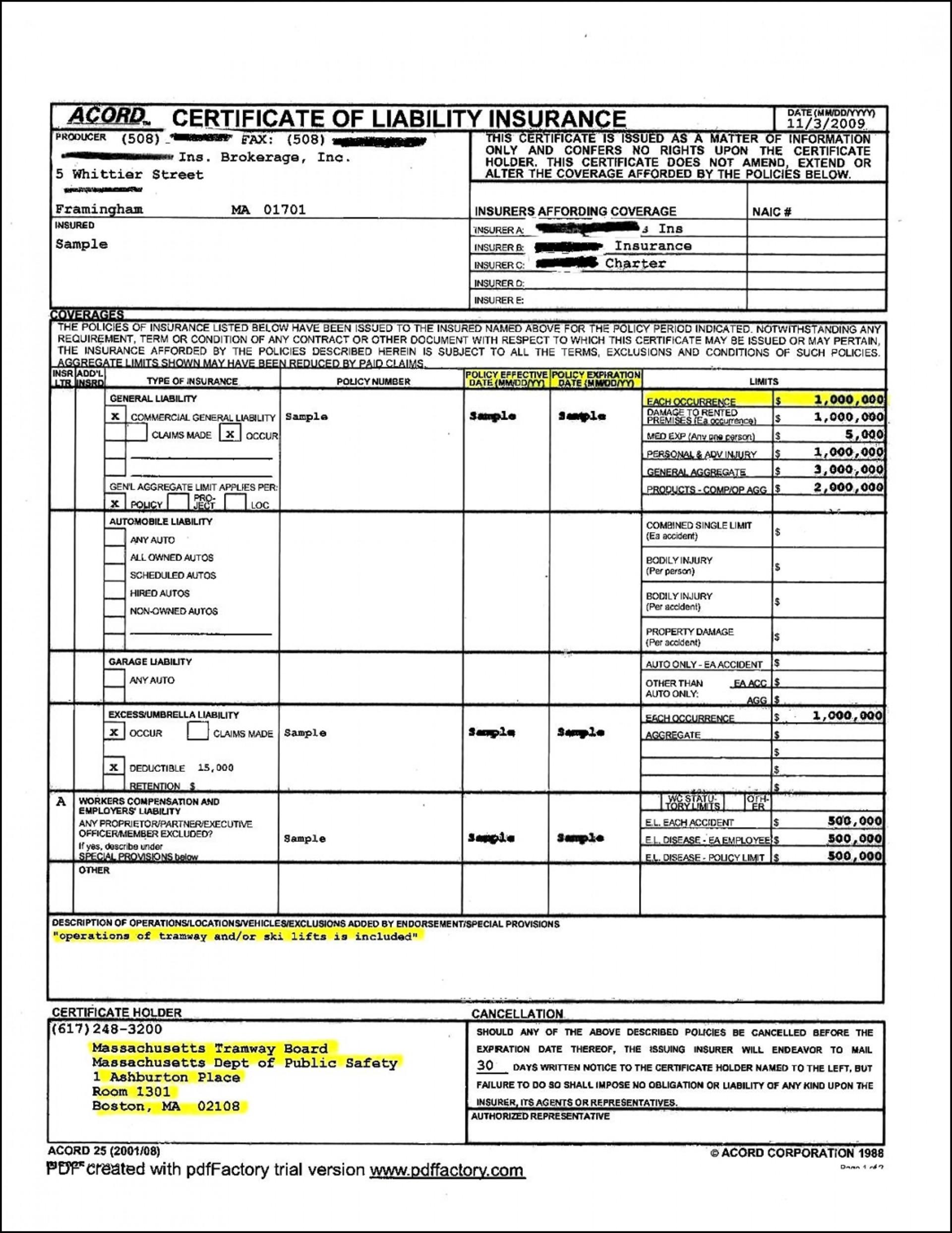 Acord Insurance Form Explanation | MBM Legal