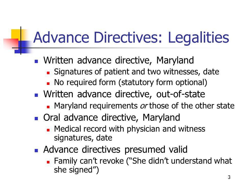 Advance Medical Directive Form Maryland