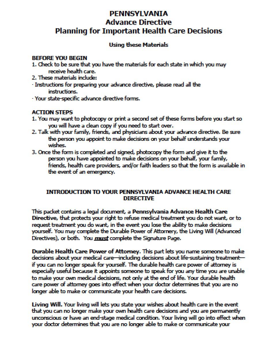 Advance Medical Directive Form Pennsylvania
