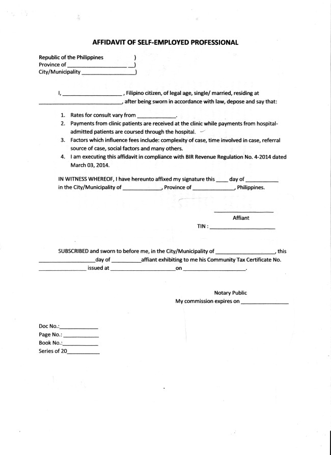 Affidavit Sample Form Philippines