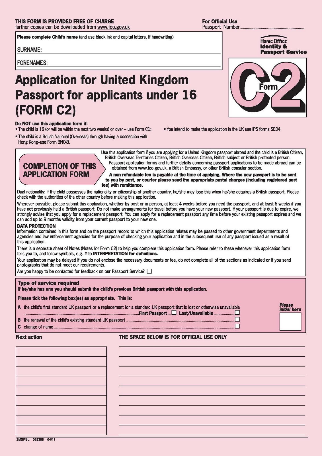 Application Form For Lost British Passport