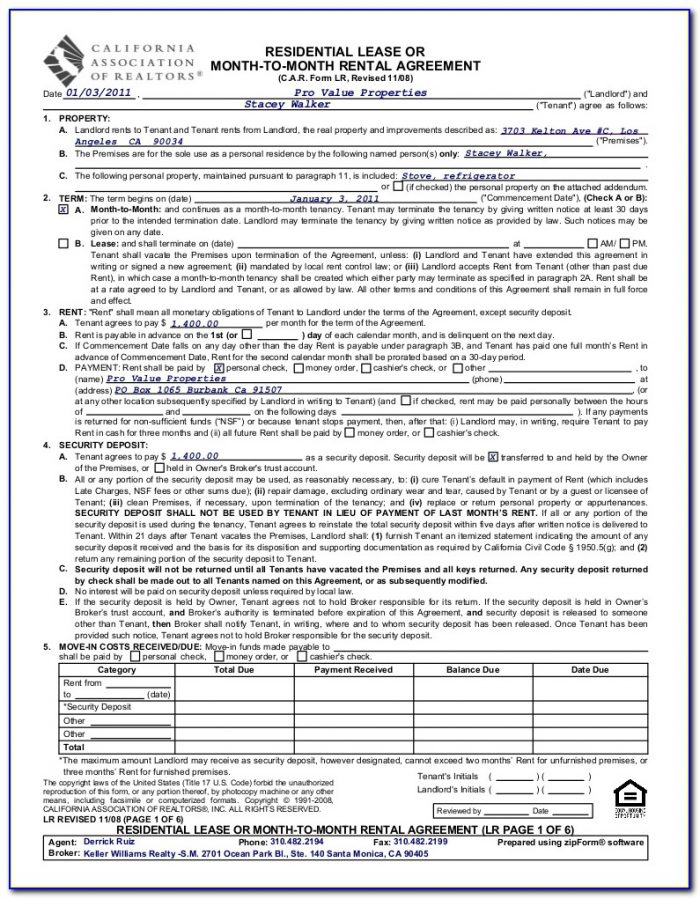Application To Rent Form California Association Of Realtors