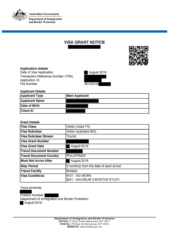 Australian Visa Form 1419 Sample