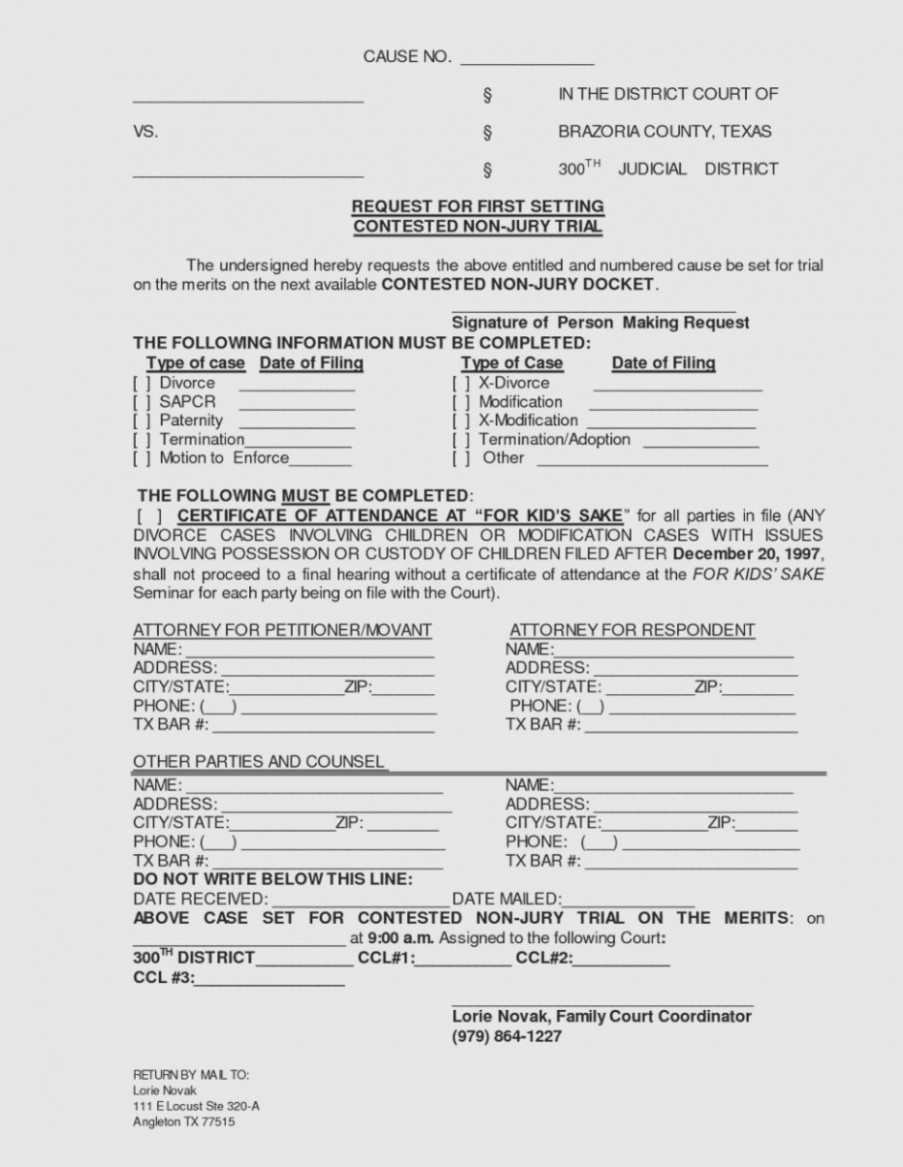 Blank Court Forms