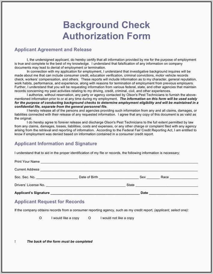 Background Check Authorization Form Format Credit Report Authorization Form Erkalnathandedecker Professional