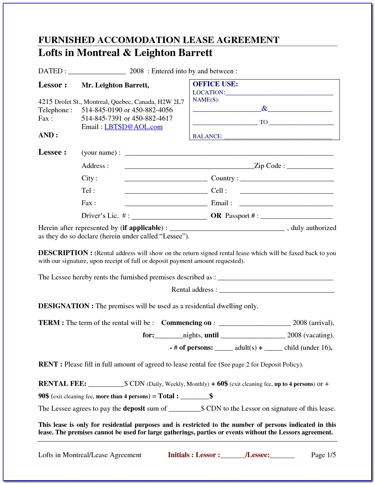 Blank Commercial Lease Forms