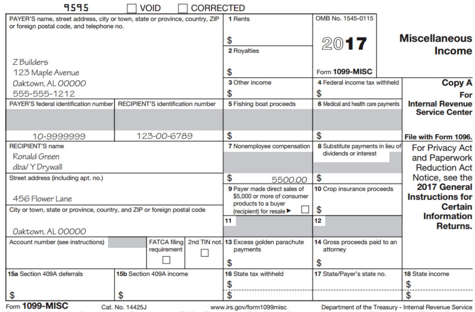 Blank 1099 Misc Form 2017