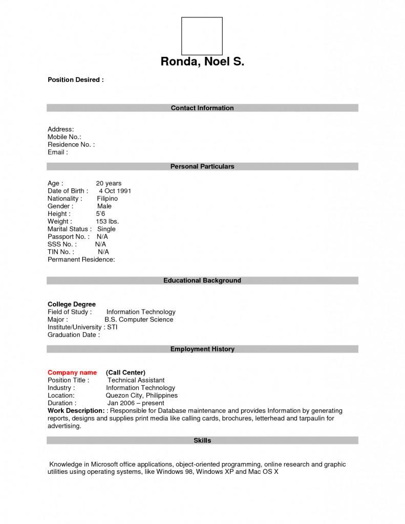 Blank Resume Format For Teachers