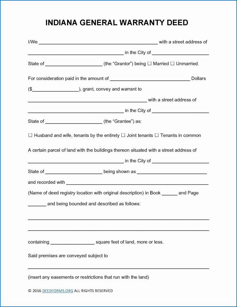 Blank Warranty Deed Form Texas Luxury Indiana Quit Claim Deed Form Indiana General Warranty Deed Form Deed