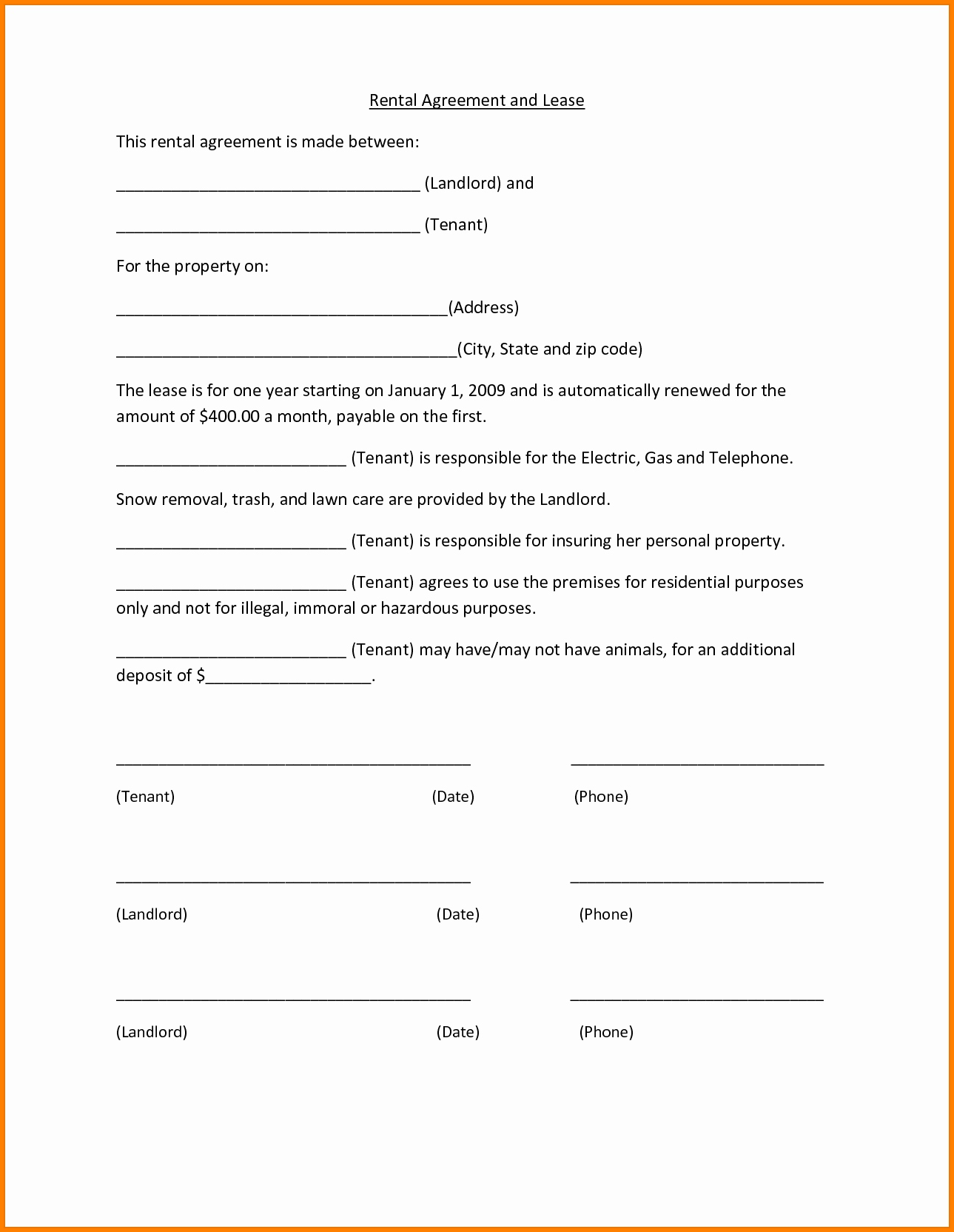 Rental Lease Form Word Document Universal Network