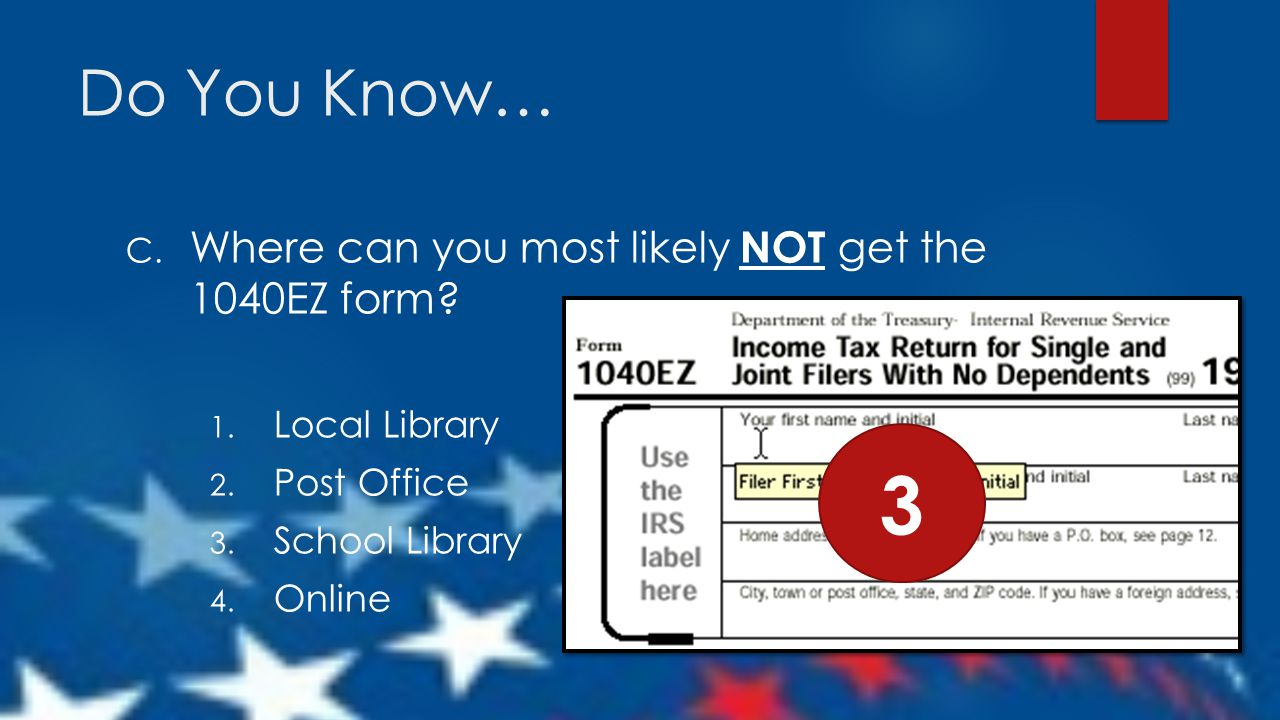 Local Library. Post Office. School Library. Online. 3.