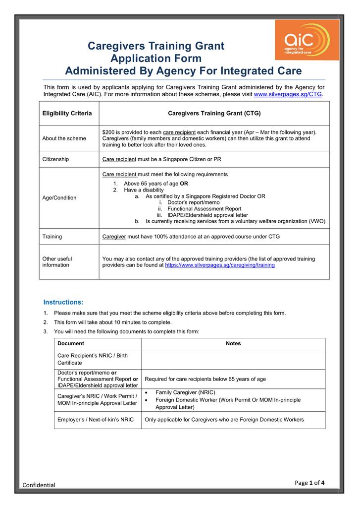 Caregiver Training Grant Application Form