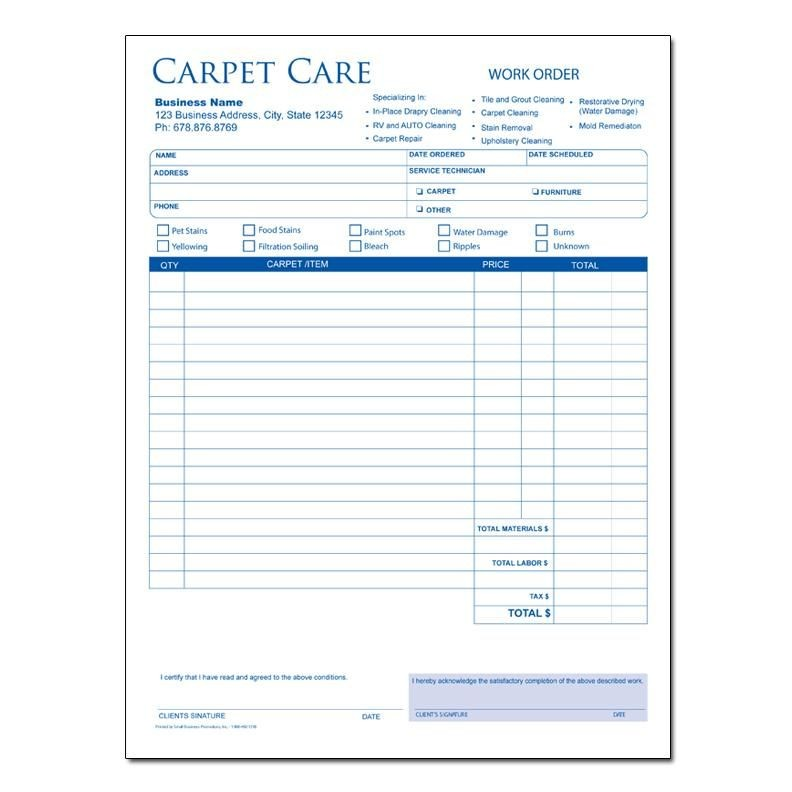 Carpet Cleaning Invoice Sample