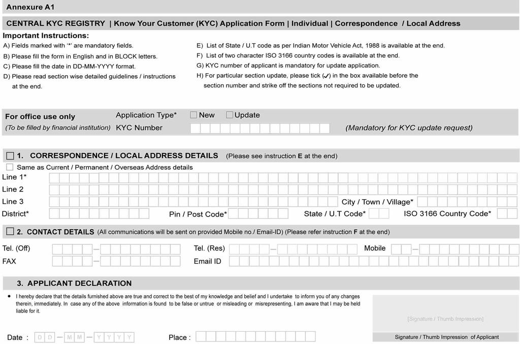 Central Kyc Registry Know Your Customer (kyc) Application Form