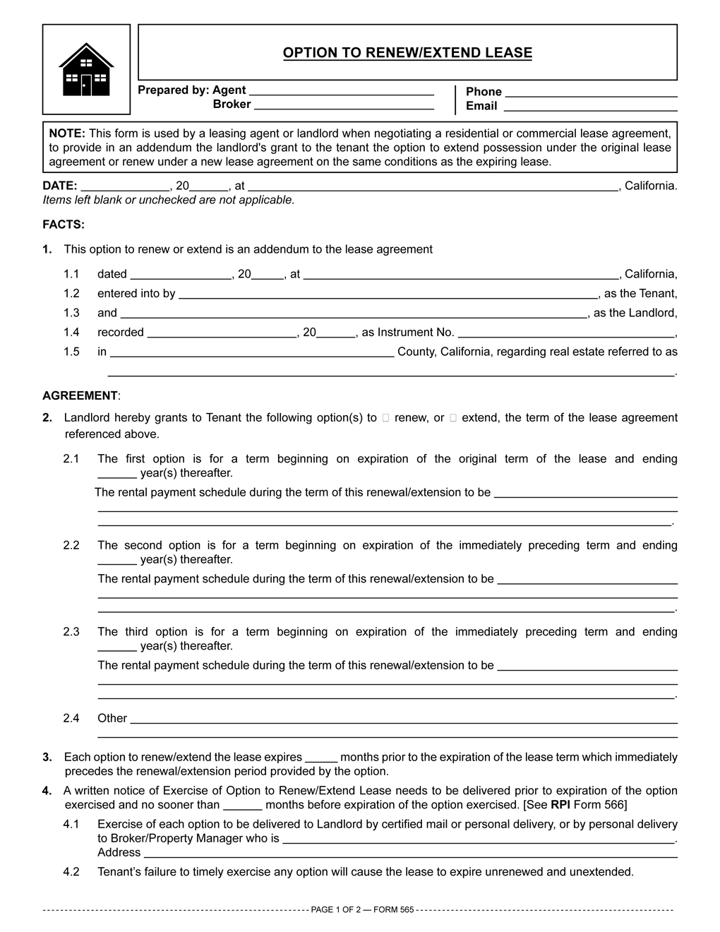 Chicago Residential Lease Extension Form