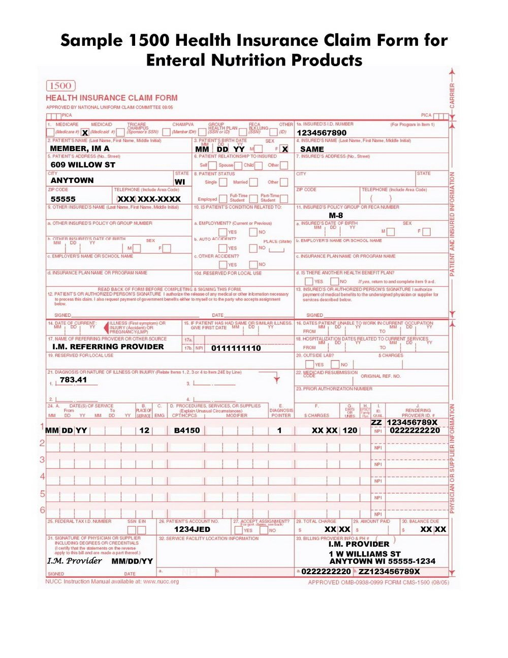 Cms 1500 Claim Form Filled Out