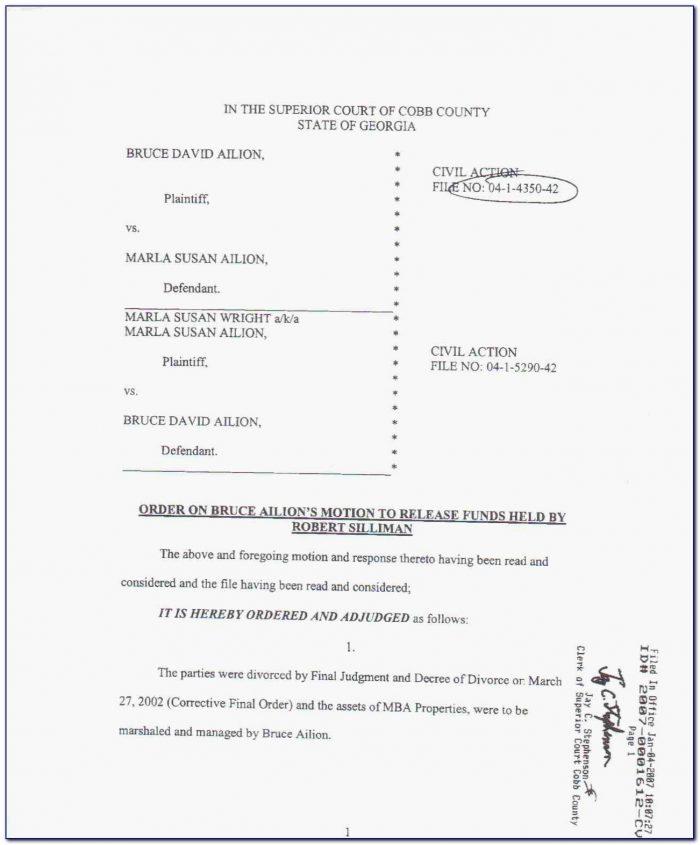 Cobb County Georgia Divorce Paperwork