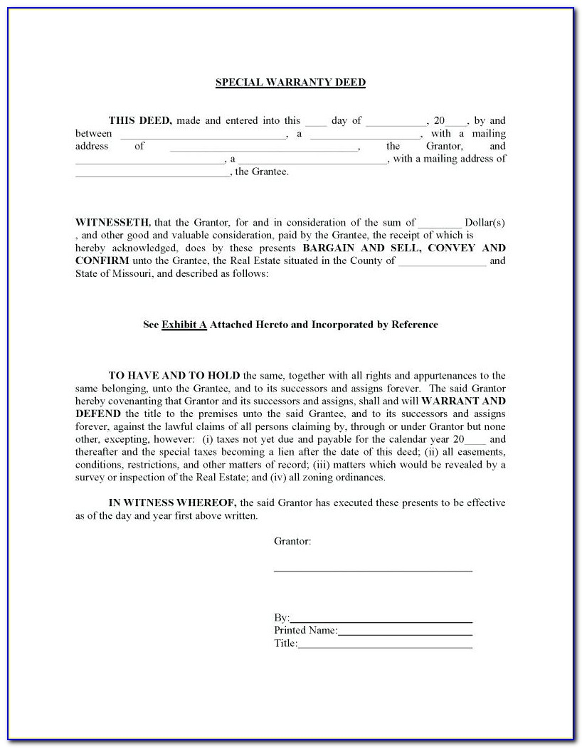 Colorado Statutory Form Special Warranty Deed