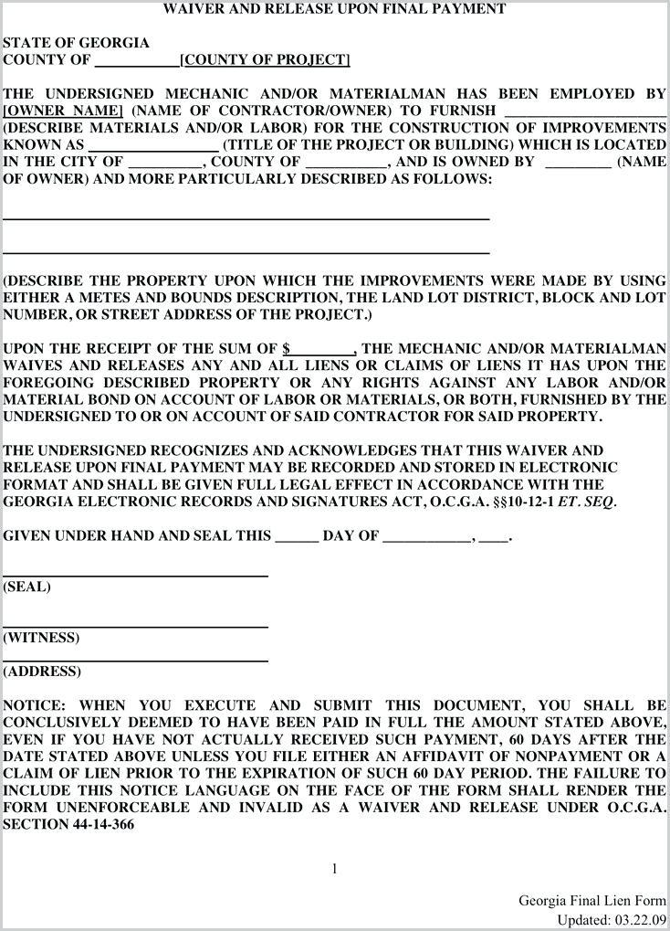Construction Lien Form 8