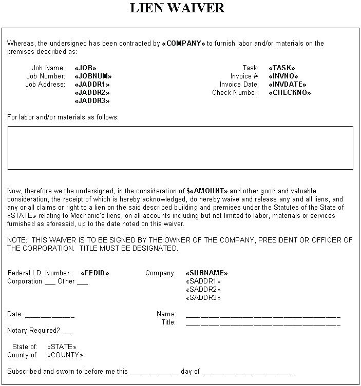 Contractor Lien Release Form Missouri