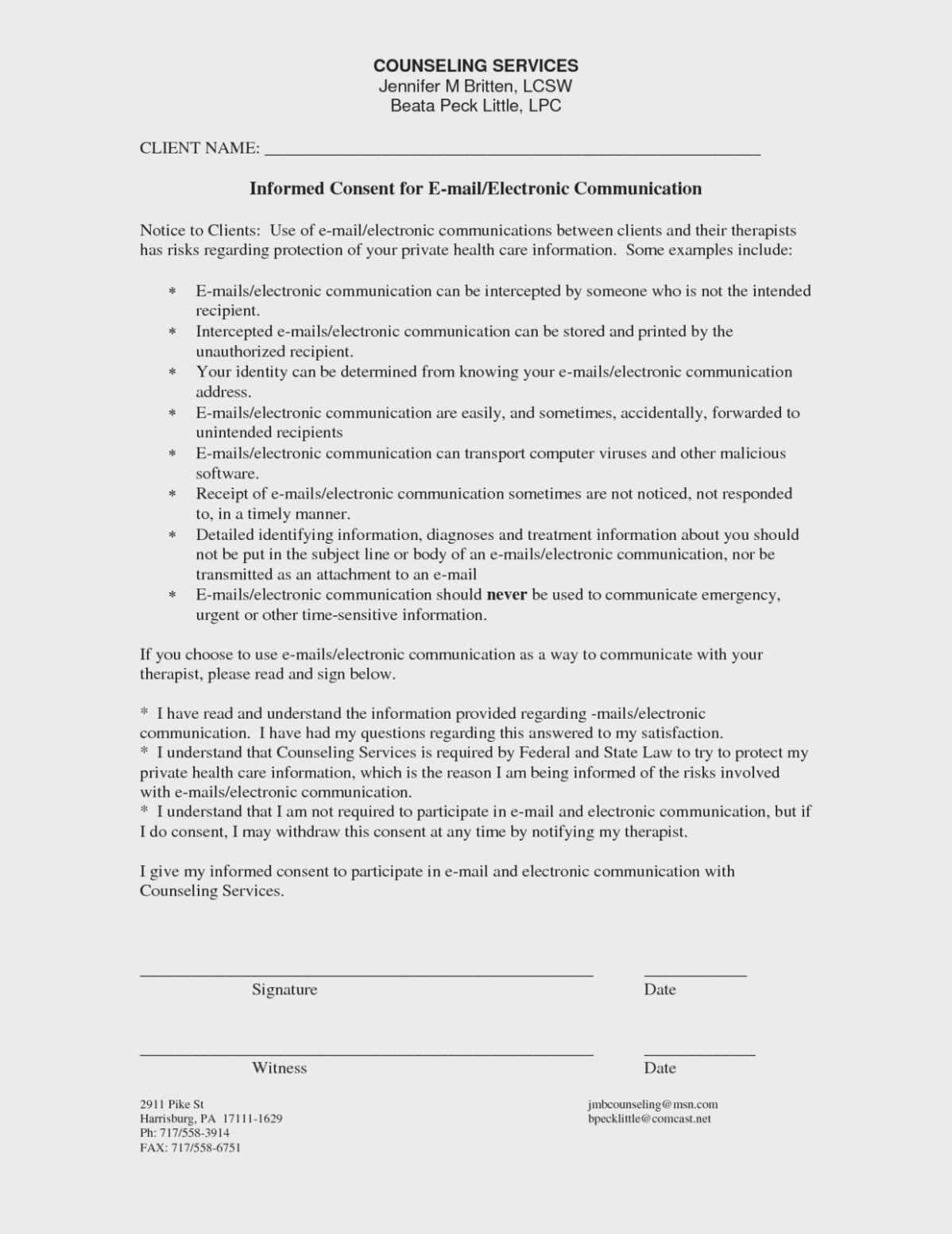 Counseling Consent Form Template