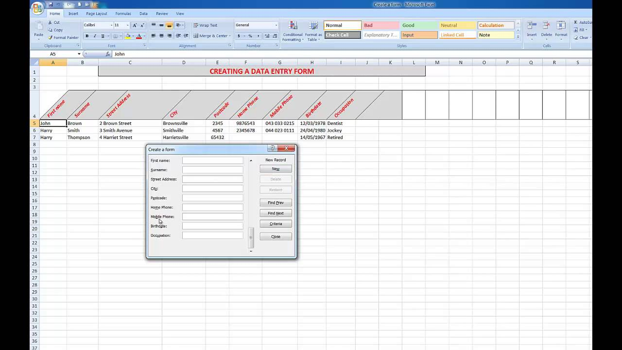 Creating Fillable Forms In Excel 2016