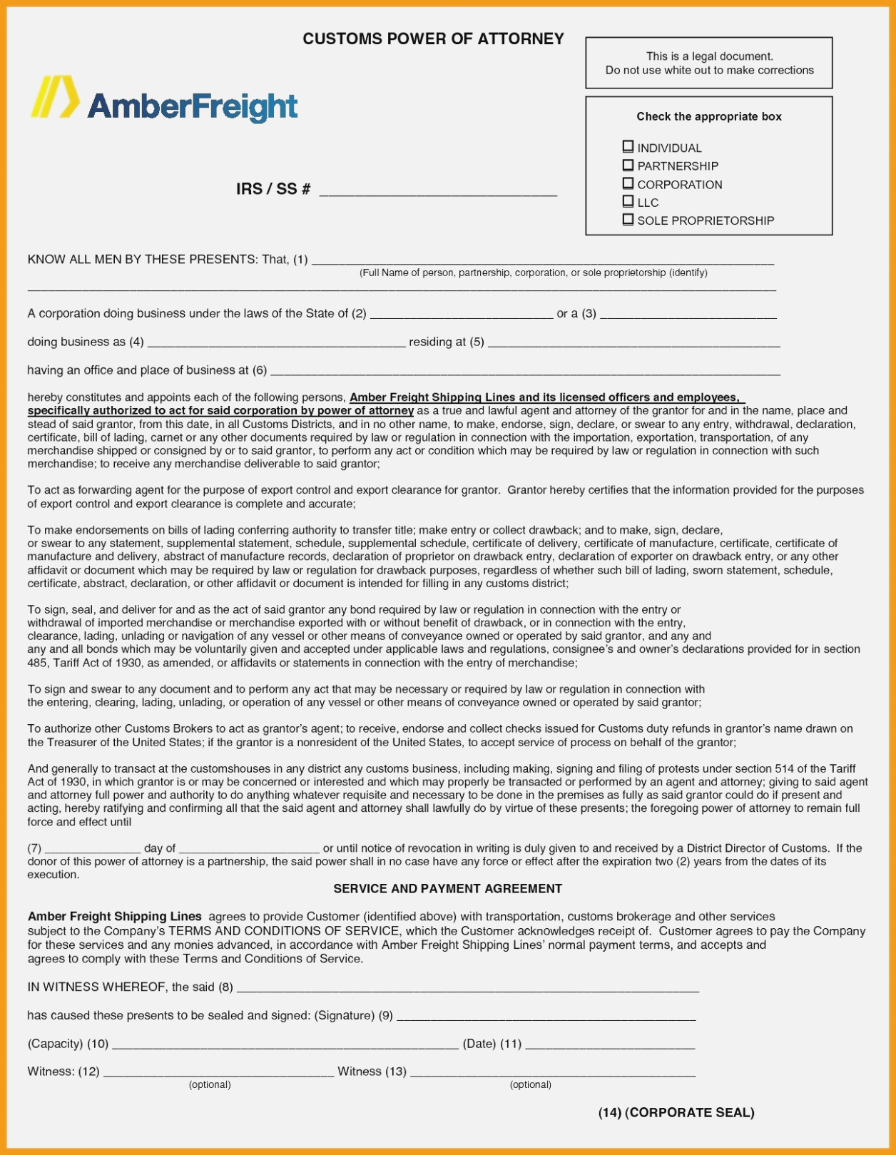 Customs Power Of Attorney Form Fillable