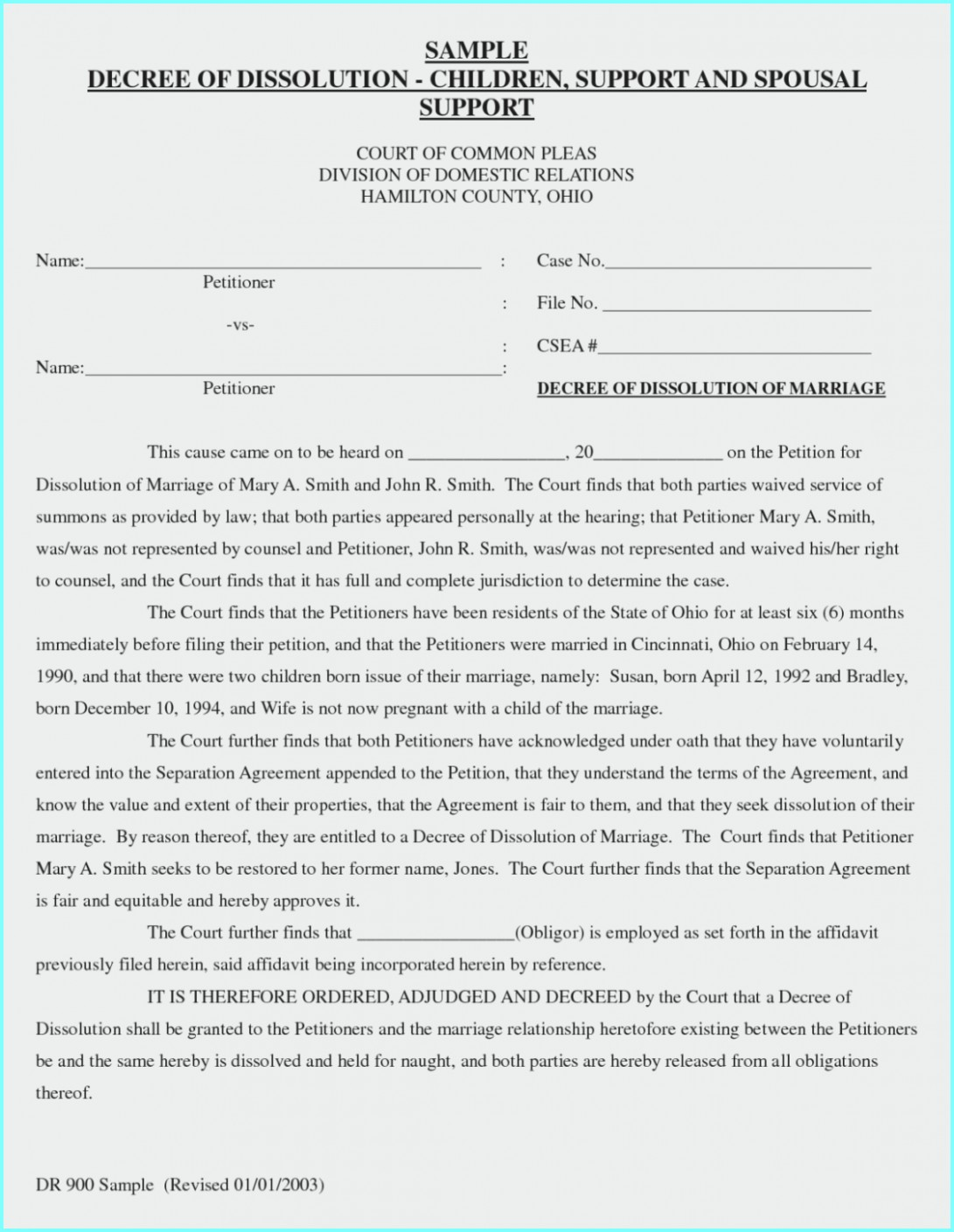 Decree Of Dissolution Of Marriage Form Ohio