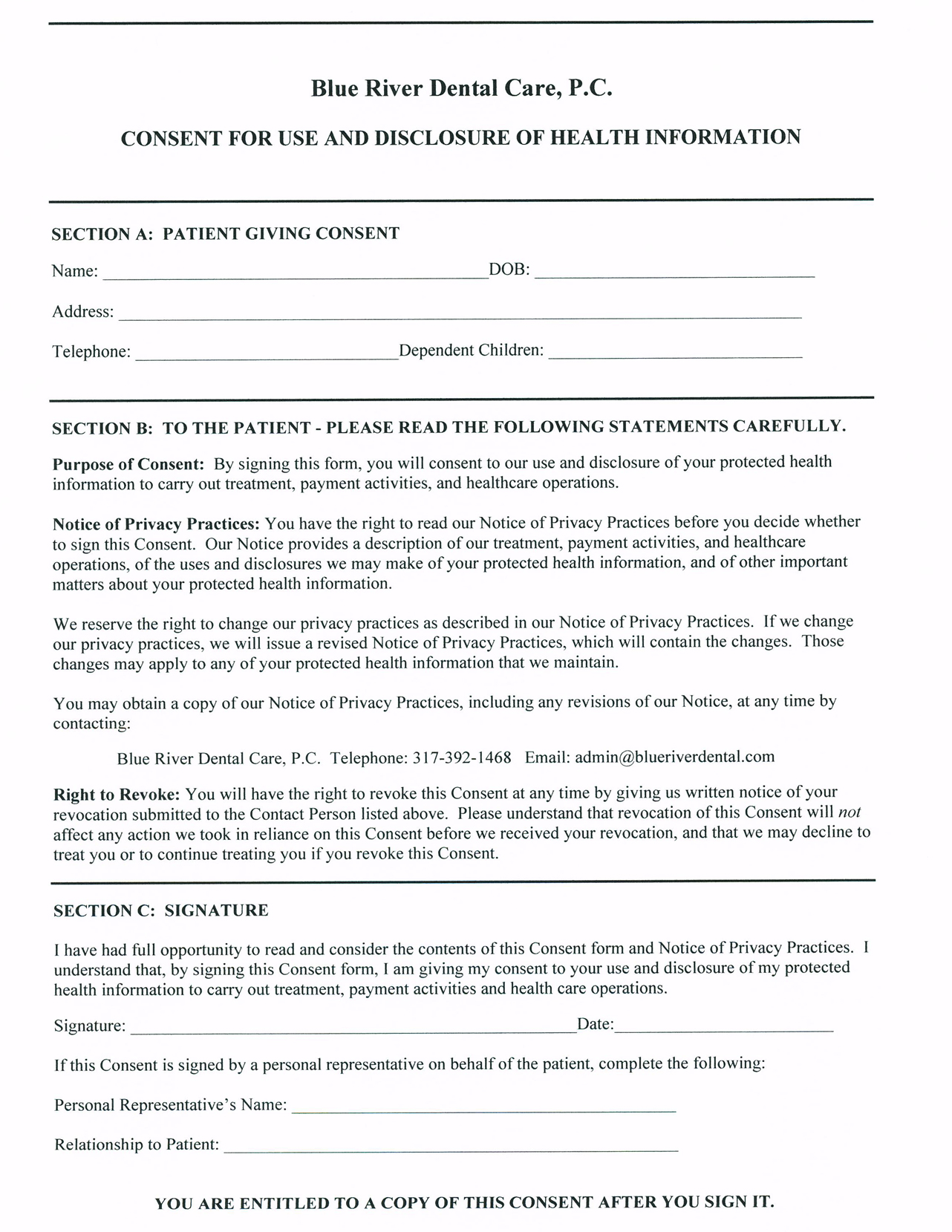 Dental Hipaa Form In Spanish