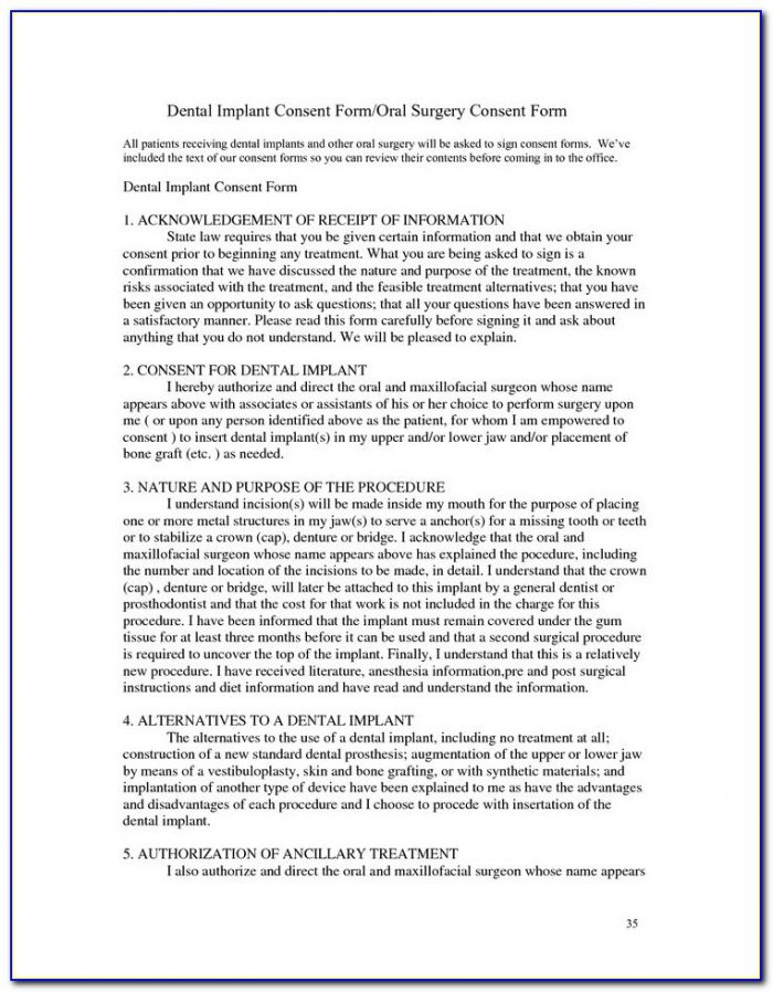 Dental Implant Restoration Consent Form