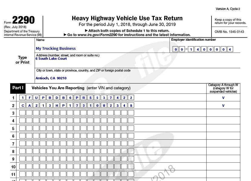 Department Of Treasury Internal Revenue Service Form 2290
