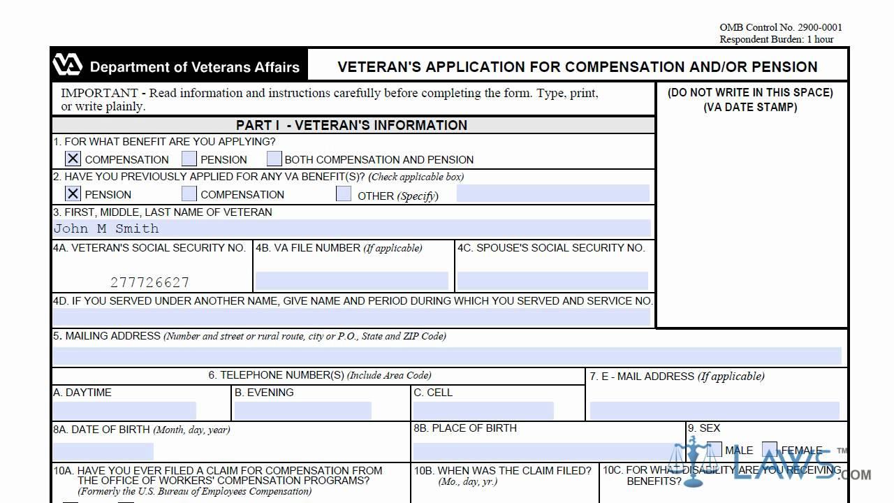 Department Of Veterans Affairs Form 21 526ez