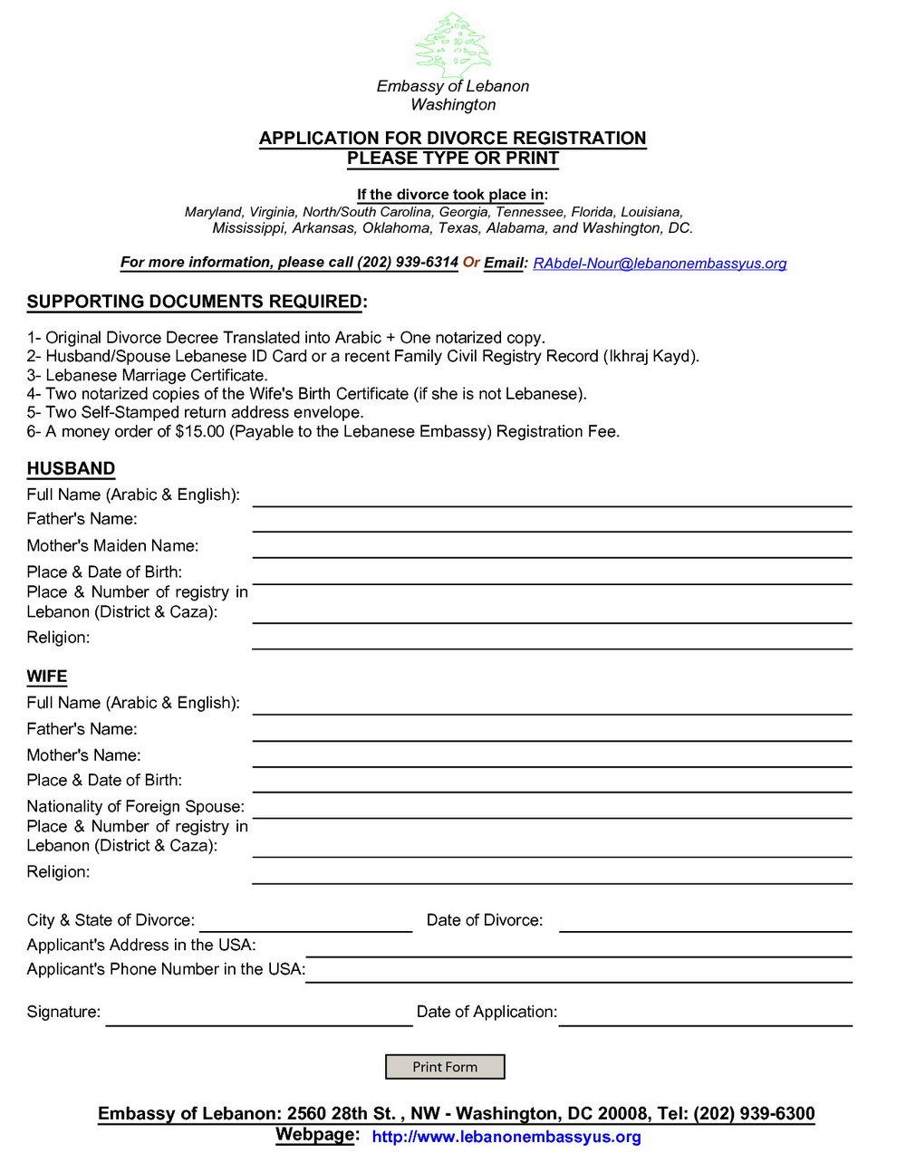 Divorce Application Form Nj