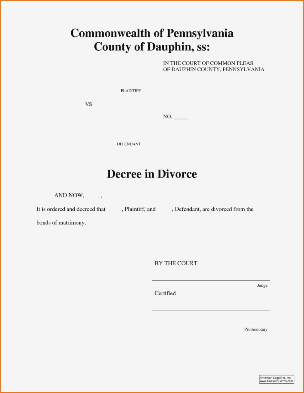 Divorce Complaint Form Pa