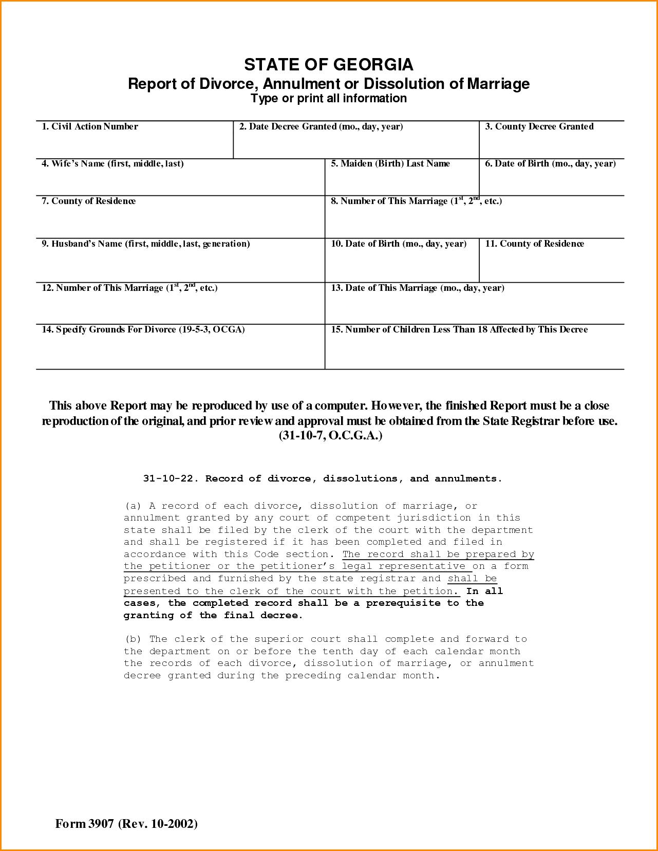 Divorce Decree Form Colorado