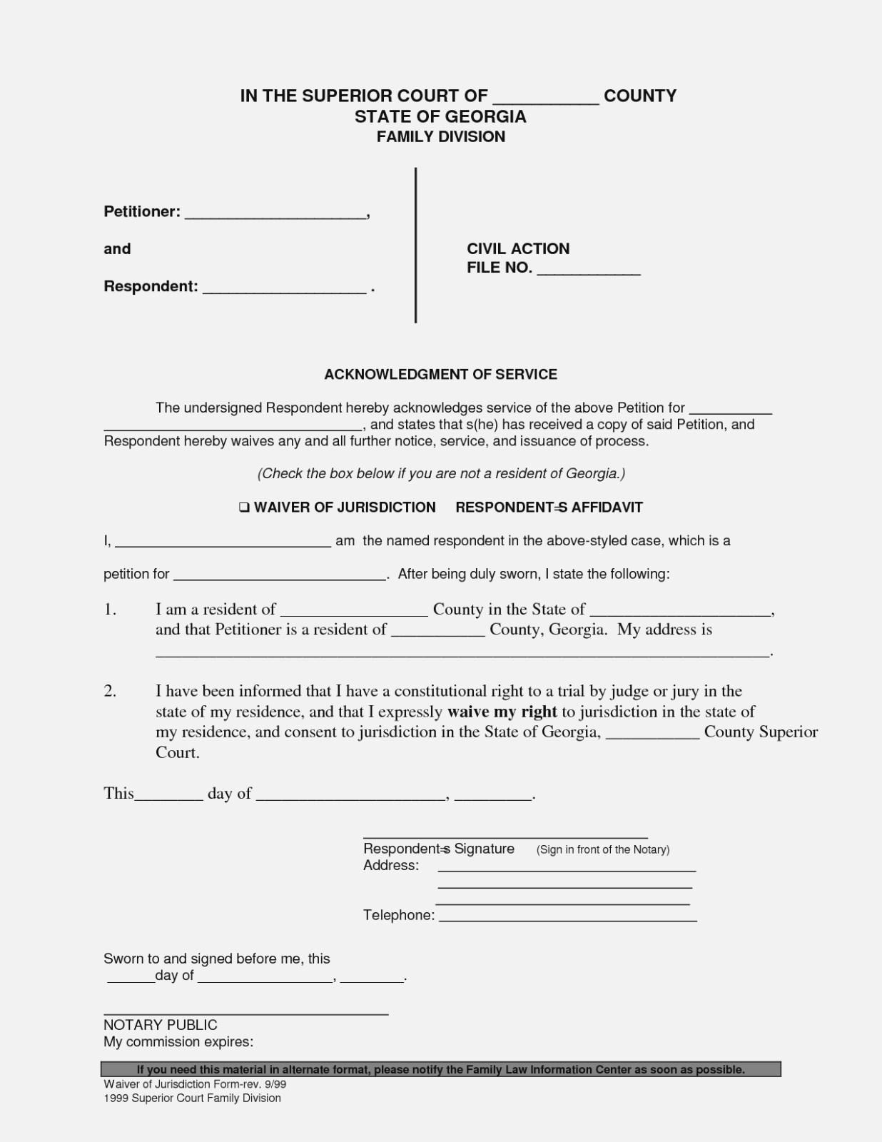 Divorce Service Waiver Form