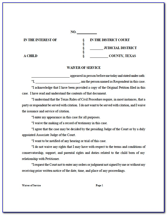 Divorce Waiver Form Florida