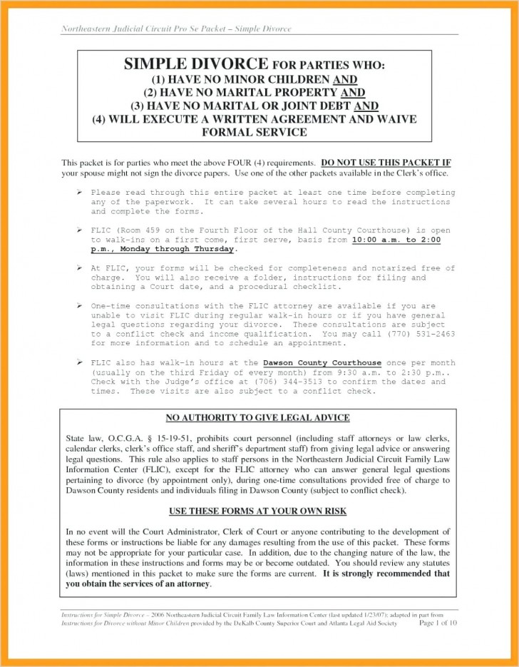 Divorce Waiver Form Virginia