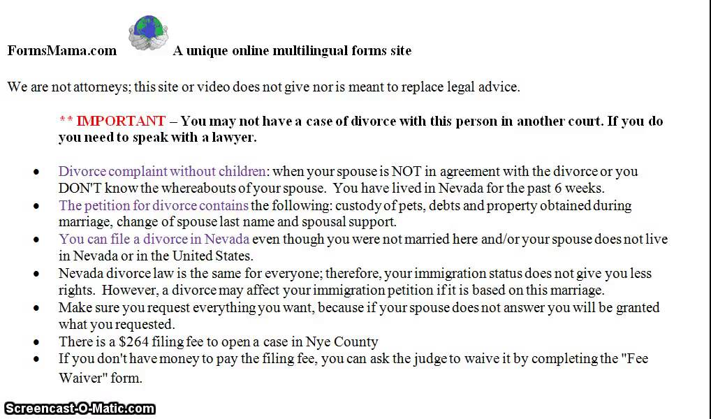 Do It Yourself Divorce Forms Nevada