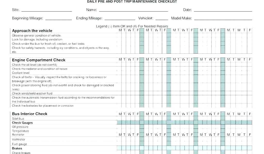 Dot Vehicle Maintenance Form