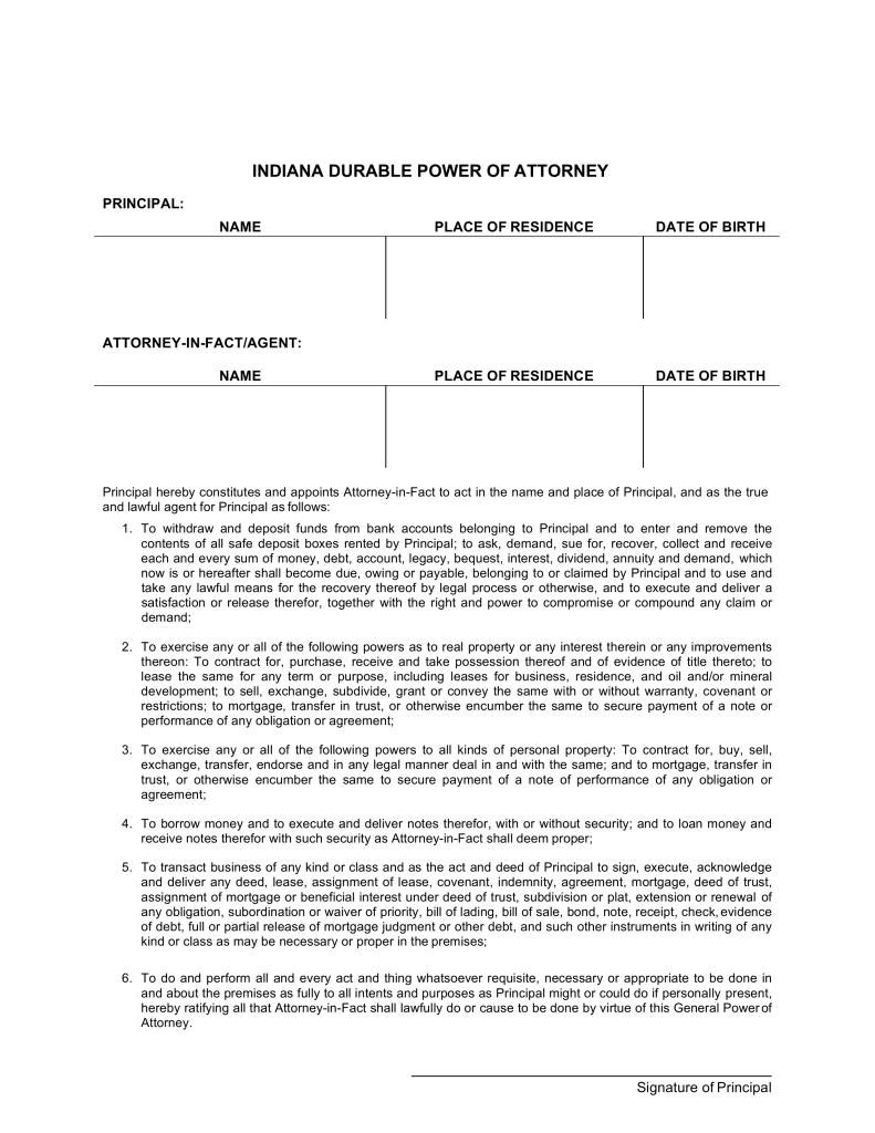 Durable Medical Power Of Attorney Form Indiana
