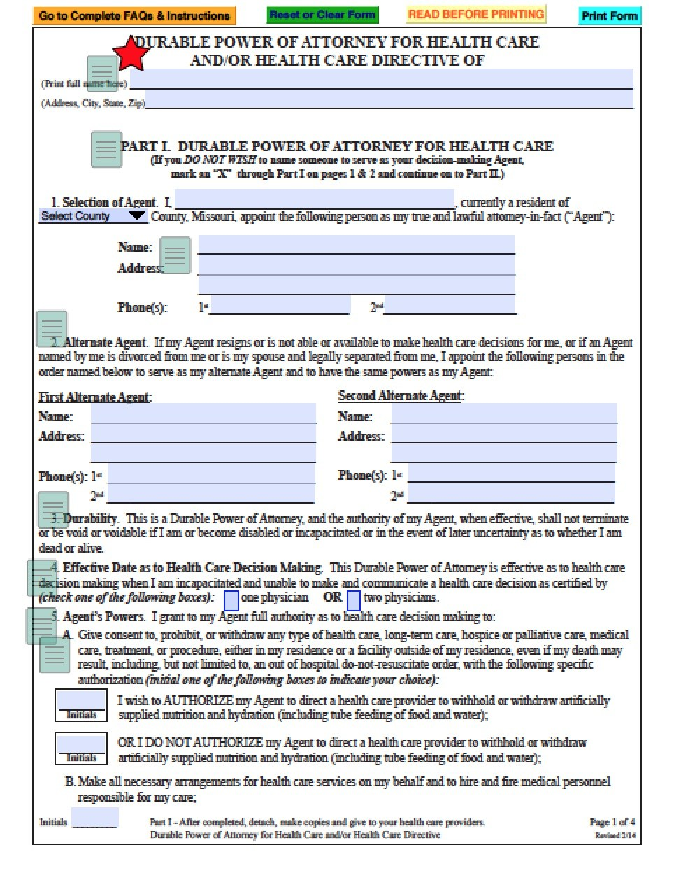 Durable Medical Power Of Attorney Form Missouri