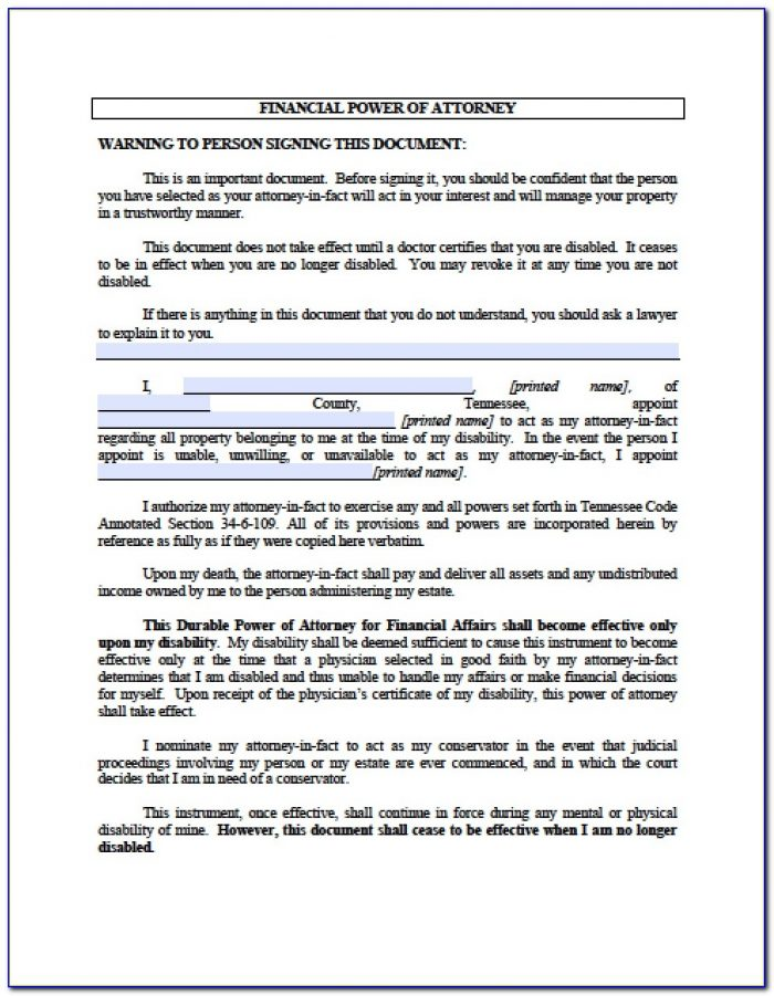 Durable Power Of Attorney Form Tennessee Pdf