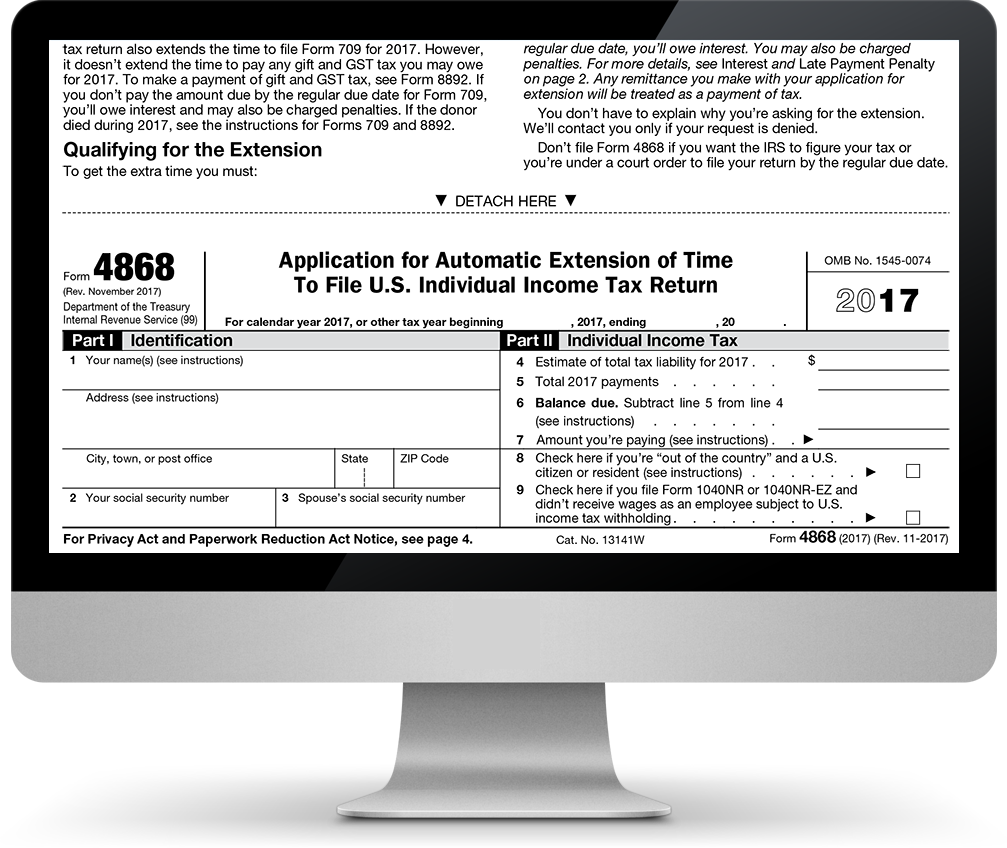 E File Tax Extension Form 4868