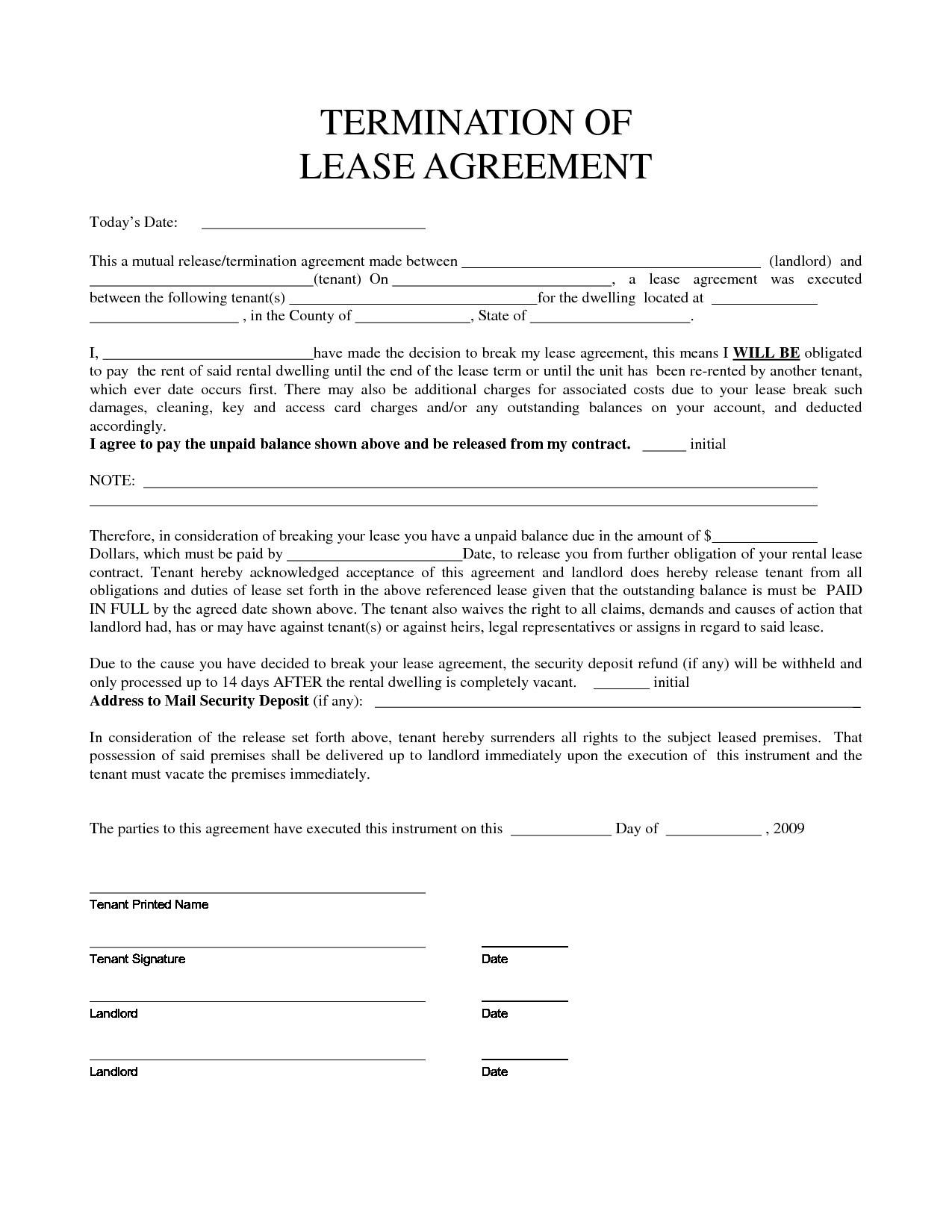 Termination Of Rental Agreement Form Early Termination Of Lease Agreement Template Templates Resume Examples Xla7bweyej