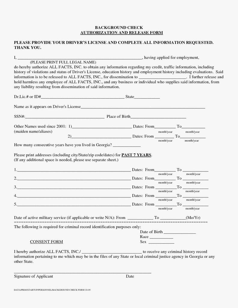 Employee Background Check Form Authorization New Free Criminal Background Check Authorization Form Template Awesome