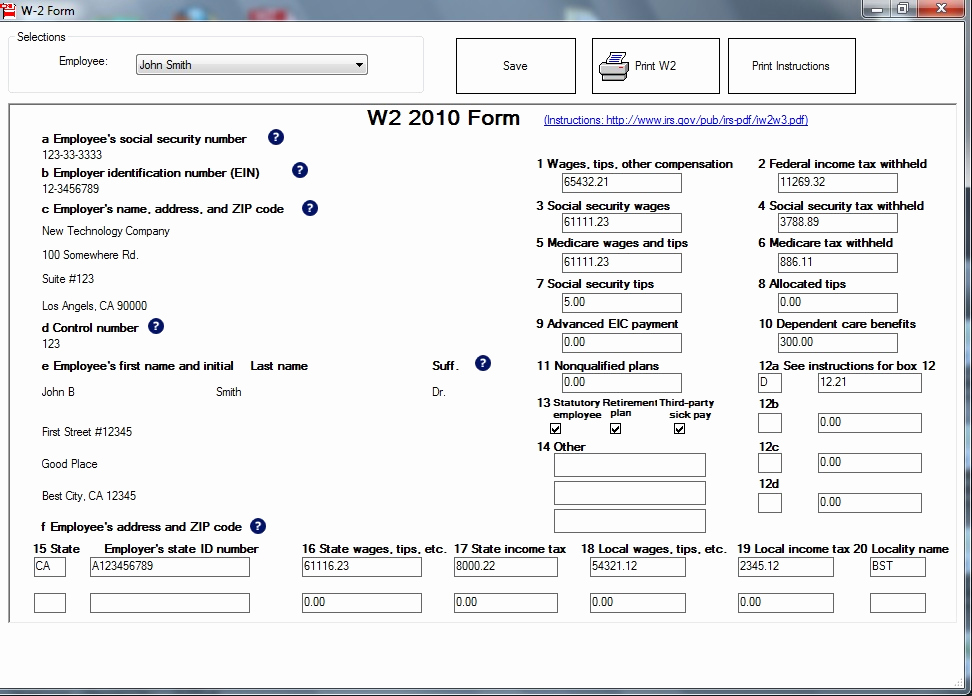 Printable W2 Form For Print W2 And W3 Forms White Paper With Ezw2 2014 To