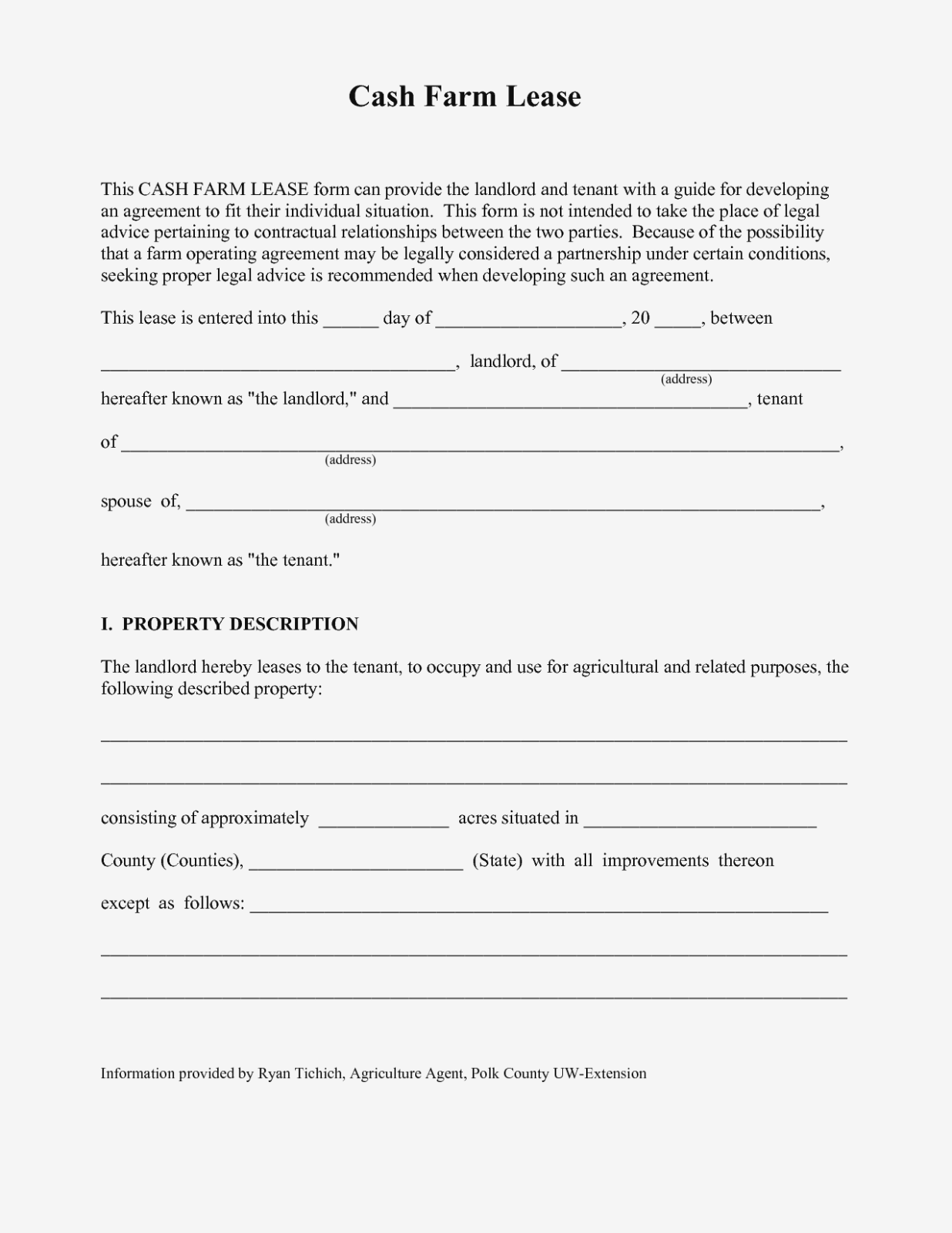 Farm Land Lease Agreement Form Free