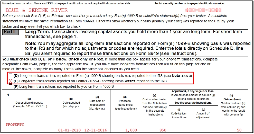 Federal Income Tax Form 1099 B