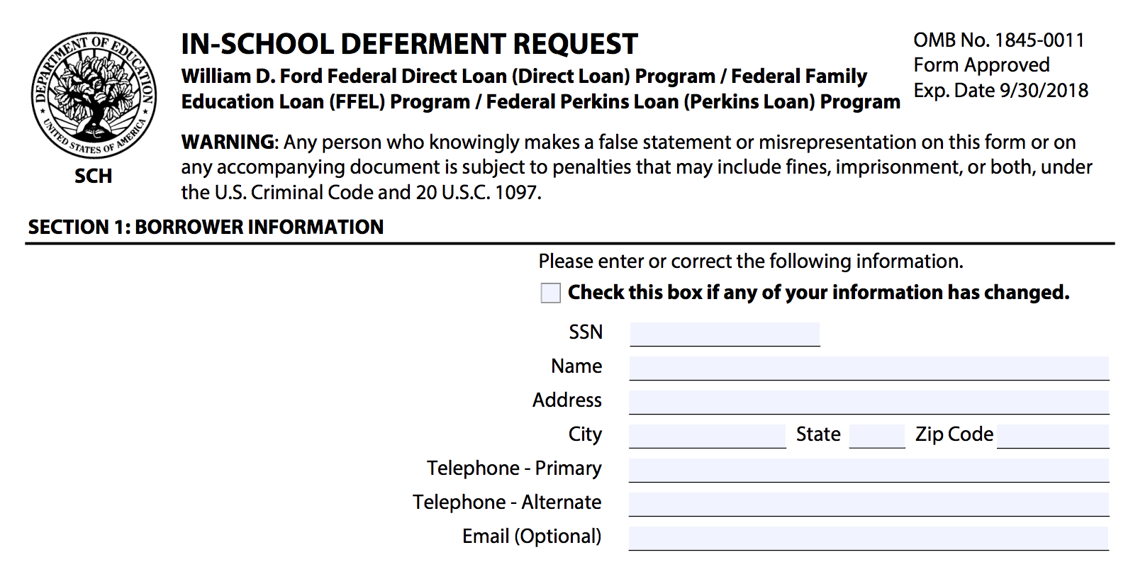 Federal Student Loan Forbearance Form